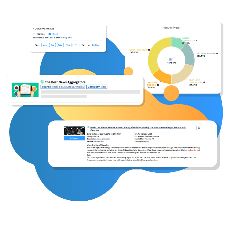 Online news monitoring dashboards from critical mention software